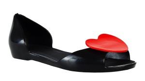 Černé baleríny se srdcem