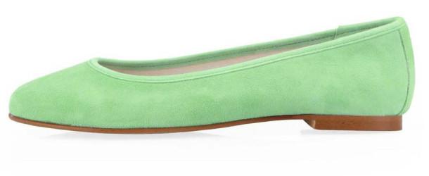 Zelené kožené baleríny OJJU